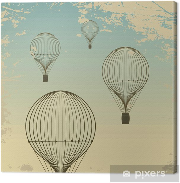 Retro hot air balloon sky background old paper texture. Vintage Canvas Print - Styles