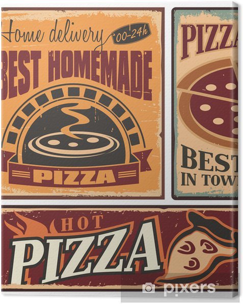 Retro metal signs set for pizzeria or Italian restaurant Canvas Print - Styles