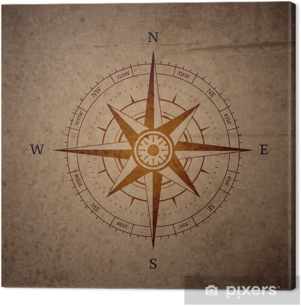 Retro navigation compass Canvas Print - Business Situations