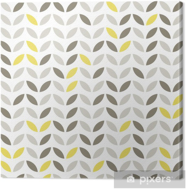 retro roślinny deseń szare i żółte liście na białym tle Canvas Print - Seasons