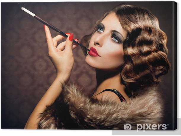 Retro Woman Portrait. Beautiful Woman with Mouthpiece Canvas Print - Themes