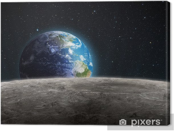 Rising Earth seen from the Moon Canvas Print - Universe