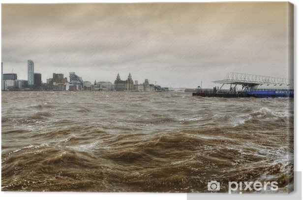 River Mersey Storm - Liverpool Canvas Print - Natural Disasters