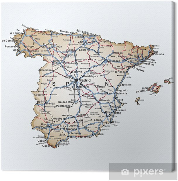 Map Of Spain Zamora.Road Map Of Spain Canvas Print Pixers We Live To Change