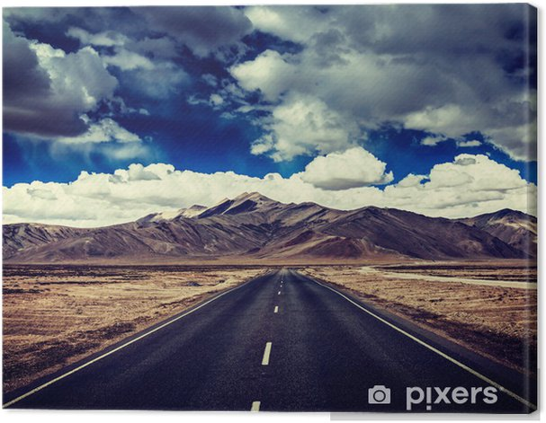 Road on plains in Himalayas with mountains Canvas Print - Themes