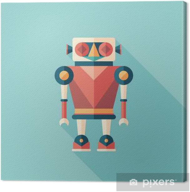 Robot illusionist flat square icon with long shadows. Canvas Print - Graphic Resources