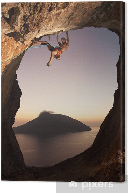 Rock climber at sunset. Kalymnos Island, Greece. Canvas Print - Mountains