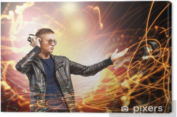 Rock musician wearing headphones Canvas Print - Teenagers