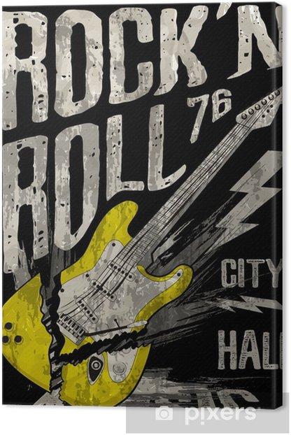 Rock'n Roll poster guitar graphic design tee art Canvas Print