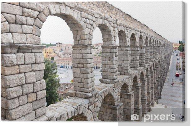 Roman Aqueduct Bridge of Segovia, first Century AD. Canvas Print - Europe
