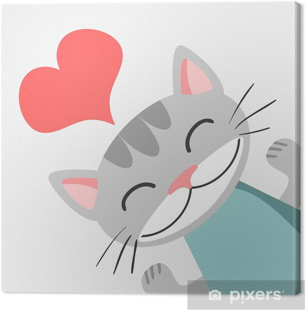 Romantic card with cute kitty Canvas Print -
