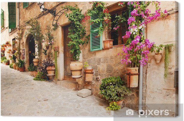 Romantic street with flowers and greenery Canvas Print - Destinations