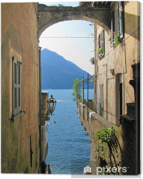 Romantic view to the famous Italian lake Como from Varenna town Canvas Print - Themes