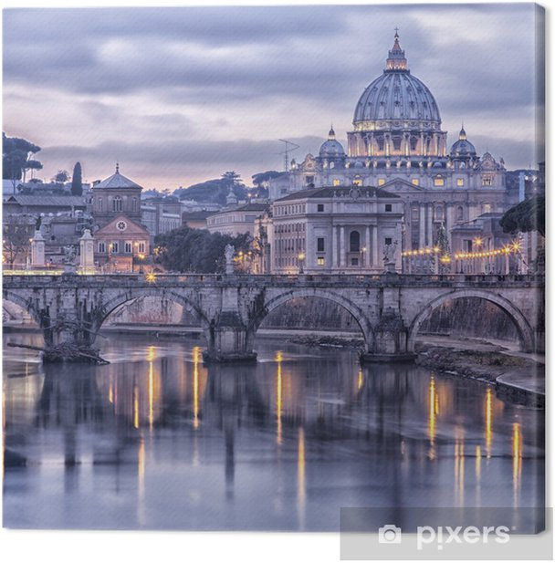 Rome and the river tiber at dusk Canvas Print -