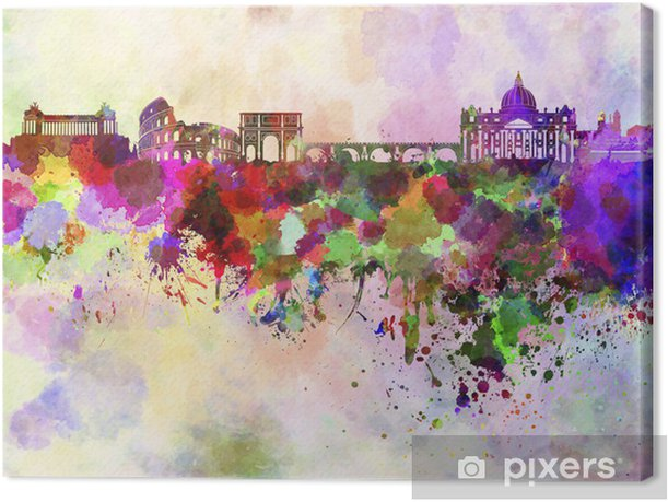 Rome skyline in watercolor background Canvas Print - Themes