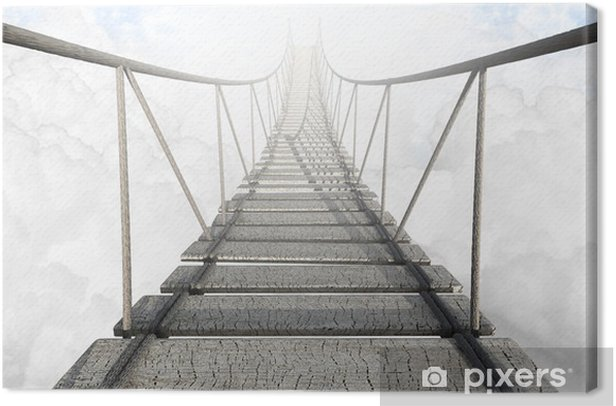 Rope Bridge Above The Clouds Canvas Print -