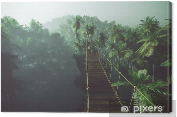 Rope bridge in misty jungle with palms. Backlit. Canvas Print - iStaging