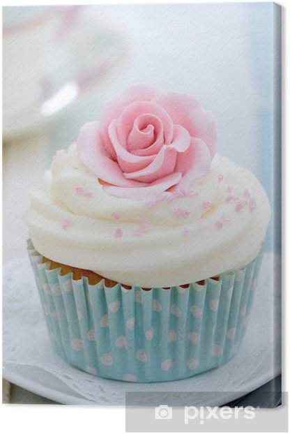 Rose cupcake Canvas Print - Sweets and muffins