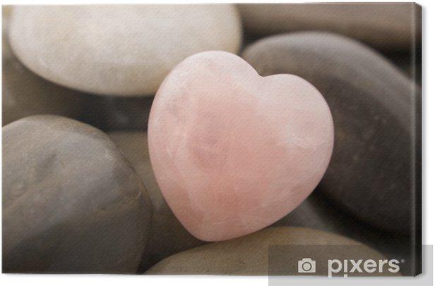 rose quartz heart Canvas Print - Stones