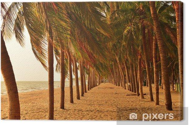 Row of Palm Trees on Beach Canvas Print - Palm trees