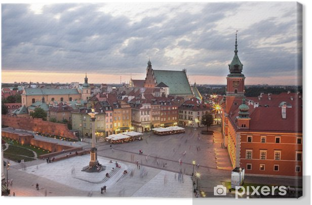 Royal Castle Square in Warsaw old town, at dusk. Poland Canvas Print - Themes