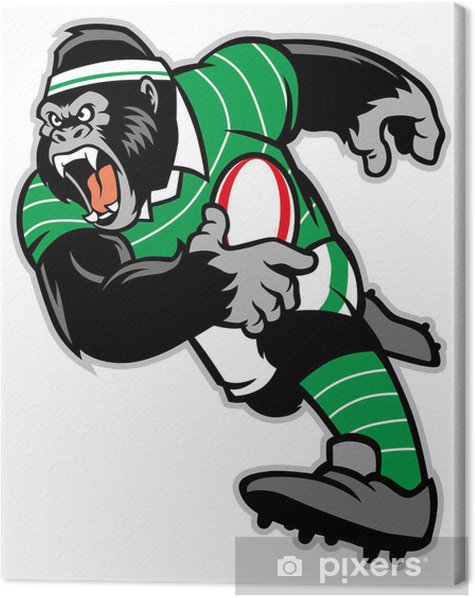 rugby gorilla mascot Canvas Print - Rugby