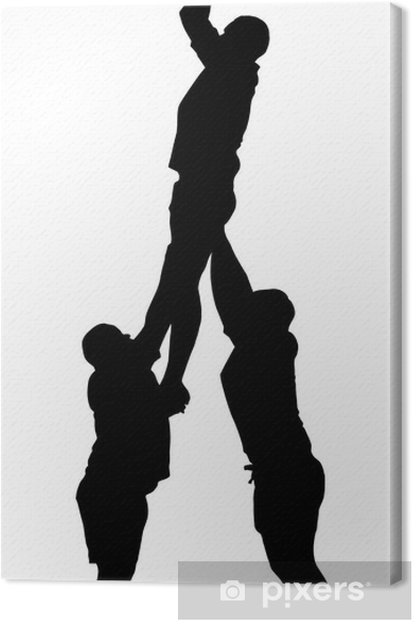 Rugby Lineout Jumper Support Silhouette Canvas Print - Rugby