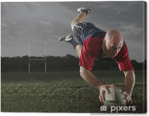 Rugby Player scoring a Try! Canvas Print - Rugby