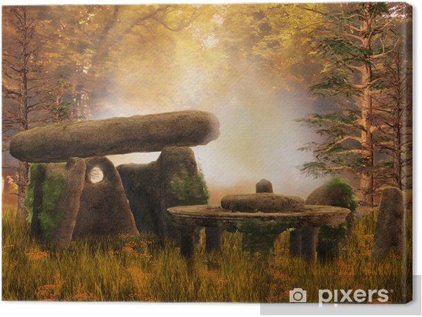 Ruiny i starożytne kamienie na jesiennej łące Canvas Print - Seasons