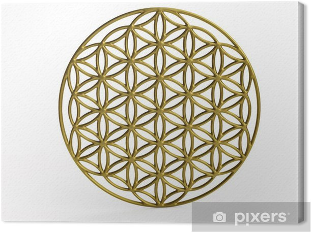Sacral Symbol Flower of Life in 3D Canvas Print - Wall decals