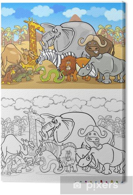 safari wild animals cartoon for coloring book Canvas Print