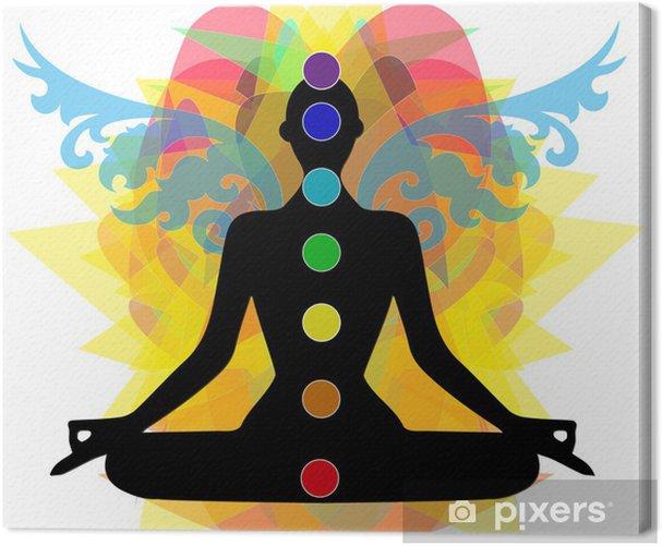sagoma in posizione yoga e punti chakra Canvas Print - Health