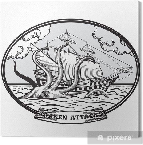 Sailing ship and Kraken monster octopus vector emblem in hand drawn style Canvas Print - Signs and Symbols