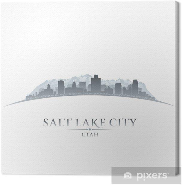 Salt Lake city Utah silhouette white background Canvas Print - America