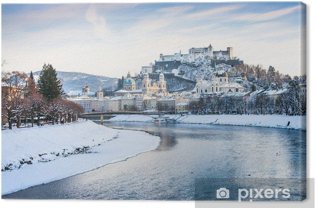 Salzburg skyline with river Salzach in winter, Austria Canvas Print - Europe