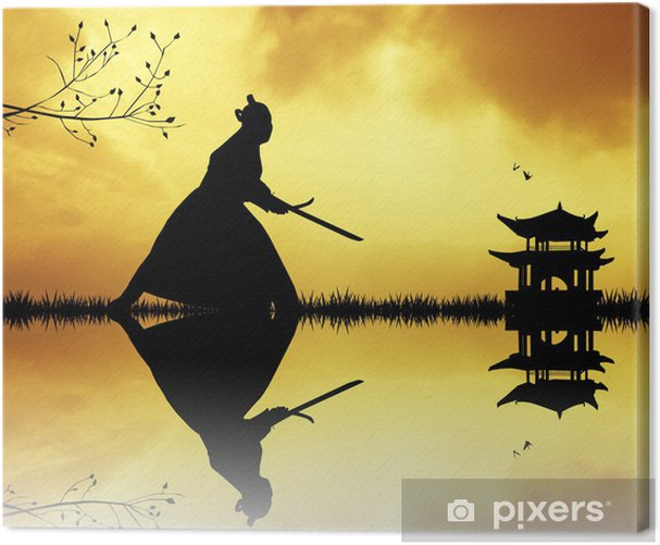 Samurai silhouette at sunset Canvas Print - Styles