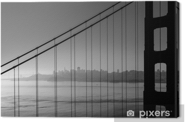 San Francisco Golden Gate Bridge Black And White California Canvas Print