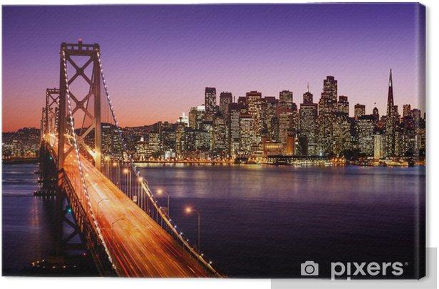 San Francisco skyline and Bay Bridge at sunset, California Canvas Print -