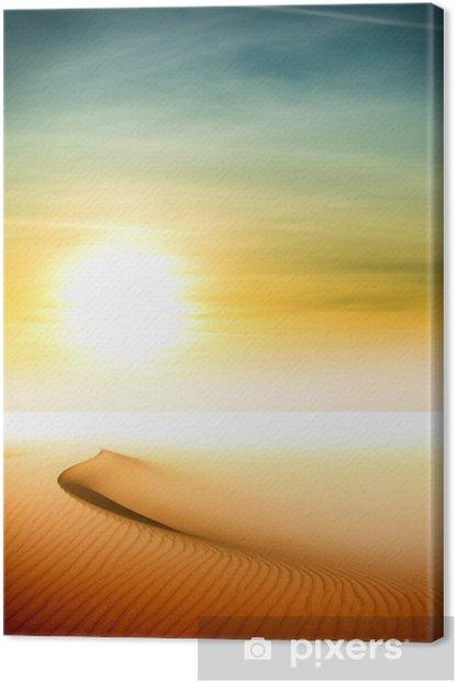 Sand dunes at sunset in the Sahara Desert Canvas Print - Deserts