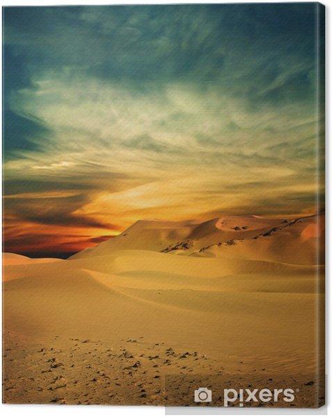 Sandy desert at sunset time Canvas Print - Themes