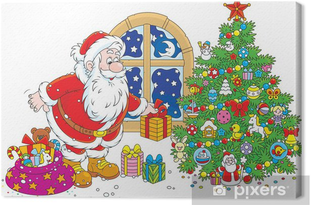 Santa Claus Putting Gifts Under A Christmas Tree Canvas Print
