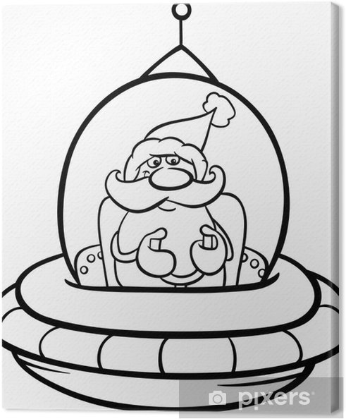 santa in spaceship coloring page Canvas Print • Pixers® • We live to ...