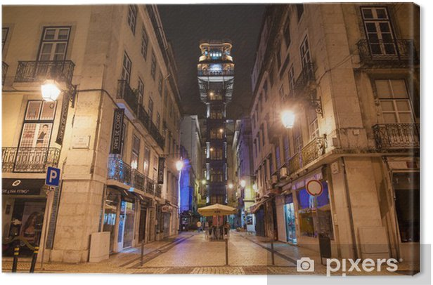Santa Justa elevator at night, Lisbon. Canvas Print - European Cities