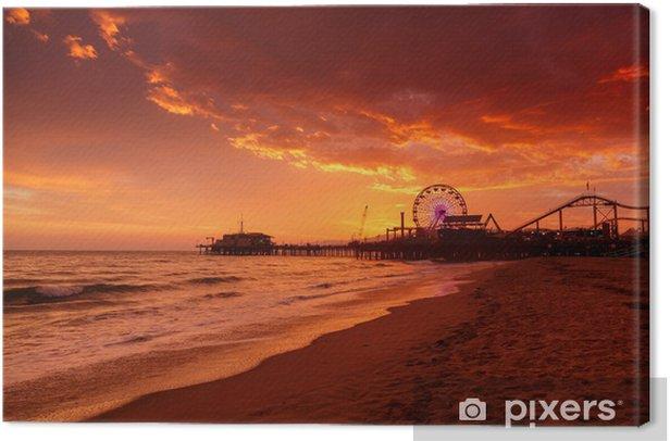Santa Monica Pier at sunset Canvas Print - Sea and ocean