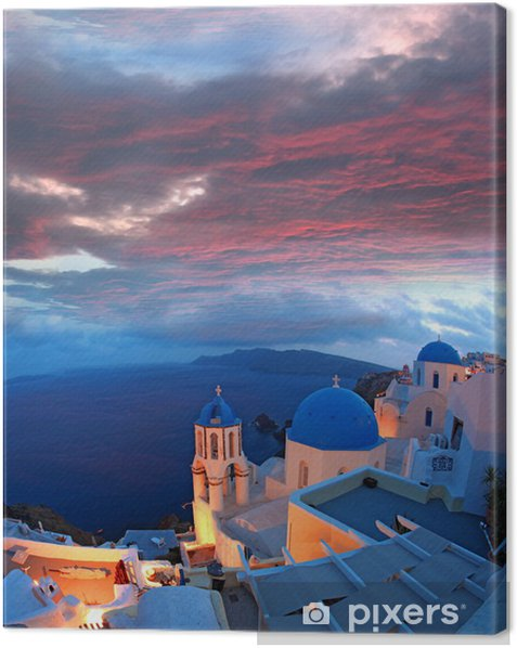 Santorini with churches and sea view in Greece Canvas Print - Themes