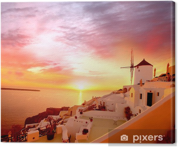 Santorini with old Windmill in Oia village, Greece Canvas Print - Mills and windmills