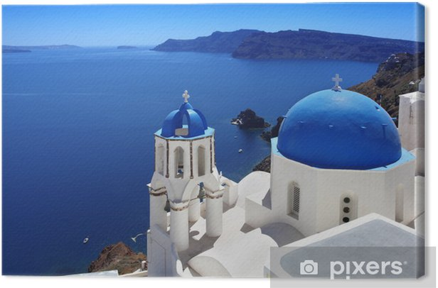 Santorini with Traditional Church in Oia, Greece Canvas Print - Themes