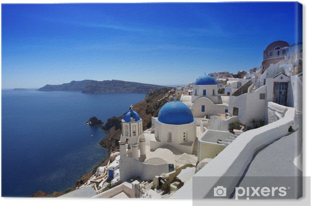 Santorini with Traditional Churches in Oia, Greece Canvas Print - Themes