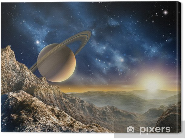Saturn moon Canvas Print - Stars