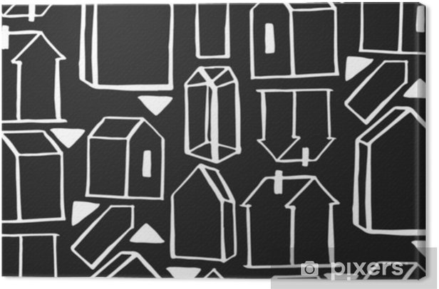 scandinavian geometric pattern vector background. houses scandinavian seamless pattern Canvas Print - Hobbies and Leisure